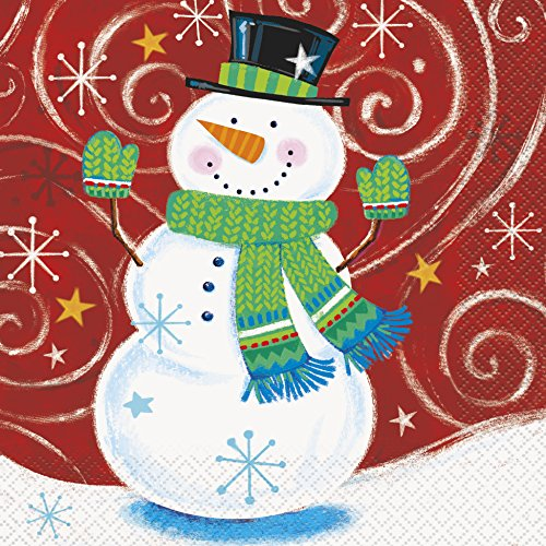 Snowman Swirl Holiday Party Napkins