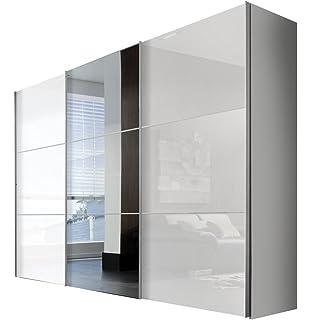 Kleiderschrank schiebetüren schwarz  Rauch Schwebetürenschrank Kleiderschrank 3-türig Weiß Alpin, Glas ...
