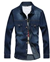 GetUBack Mens Slim Denim Jeans Shirt Casual Camisa