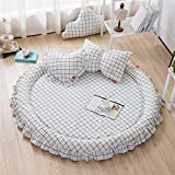 YEVEM Grid Washed Cotton Quilted Round Area Rugs White Black for Kids Adults Baby Toddler Developing Crawling Rug Kids Room Decoration Play Mats Diameter 59 inch
