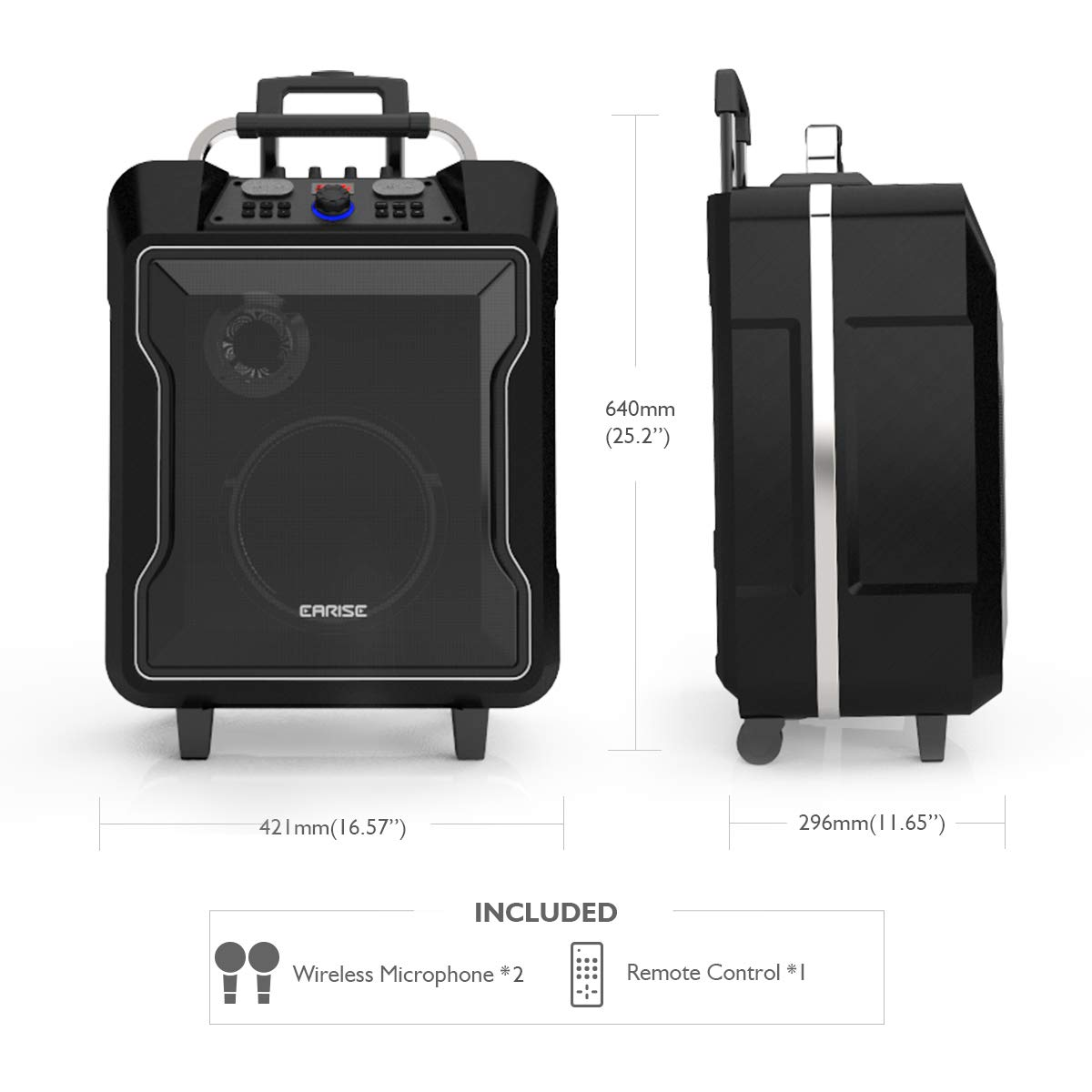 USB Charging /& Wheels Black Telescoping Handle LED Display Remote Control Soft Metal Aux Input EARISE M60 Portable PA System Bluetooth Loudspeaker with 2 Wireless Microphone,10 Subwoofer