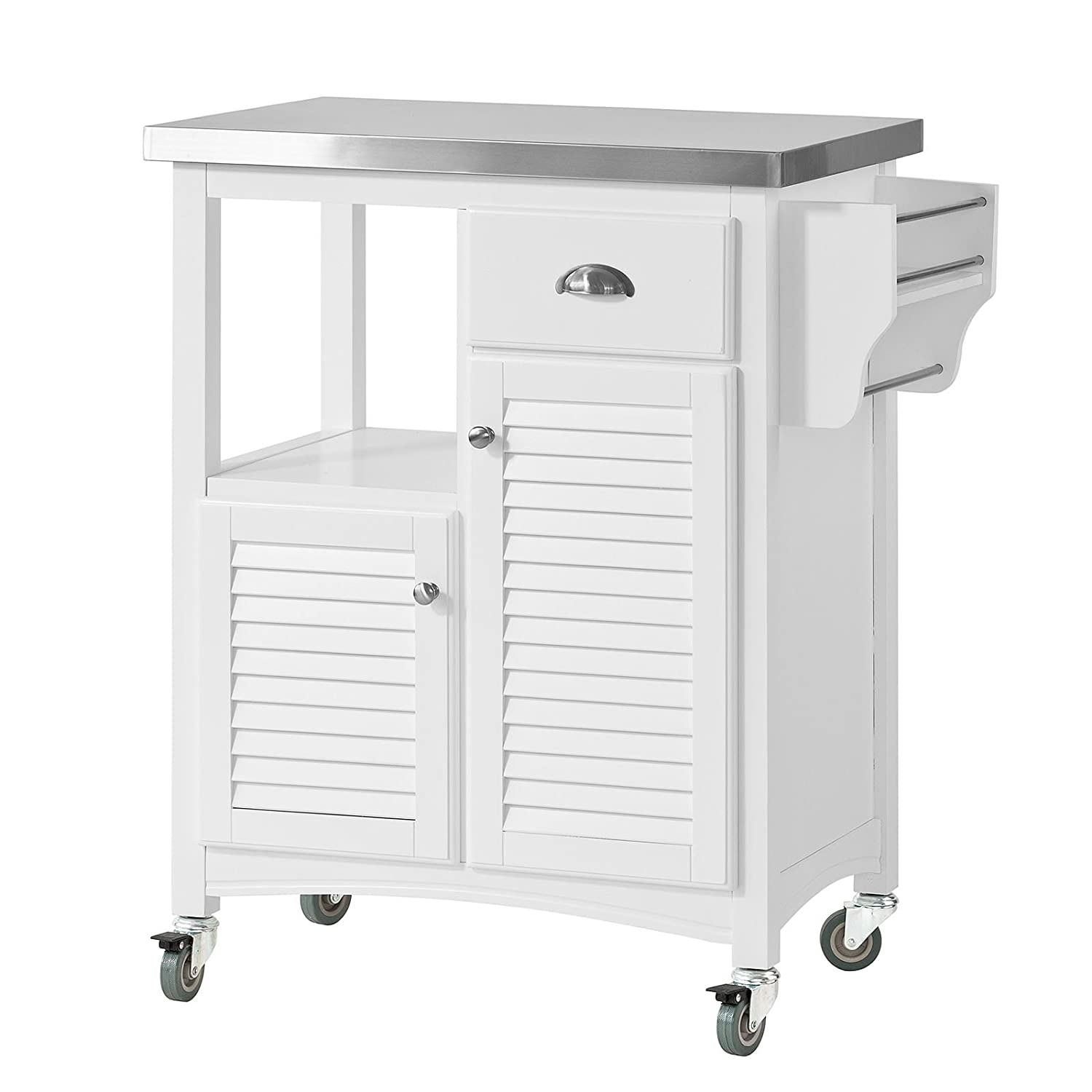 SoBuy® Kitchen Storage Serving Trolley Cart with Stainless Steel Worktop & Cupboards, FKW37-W
