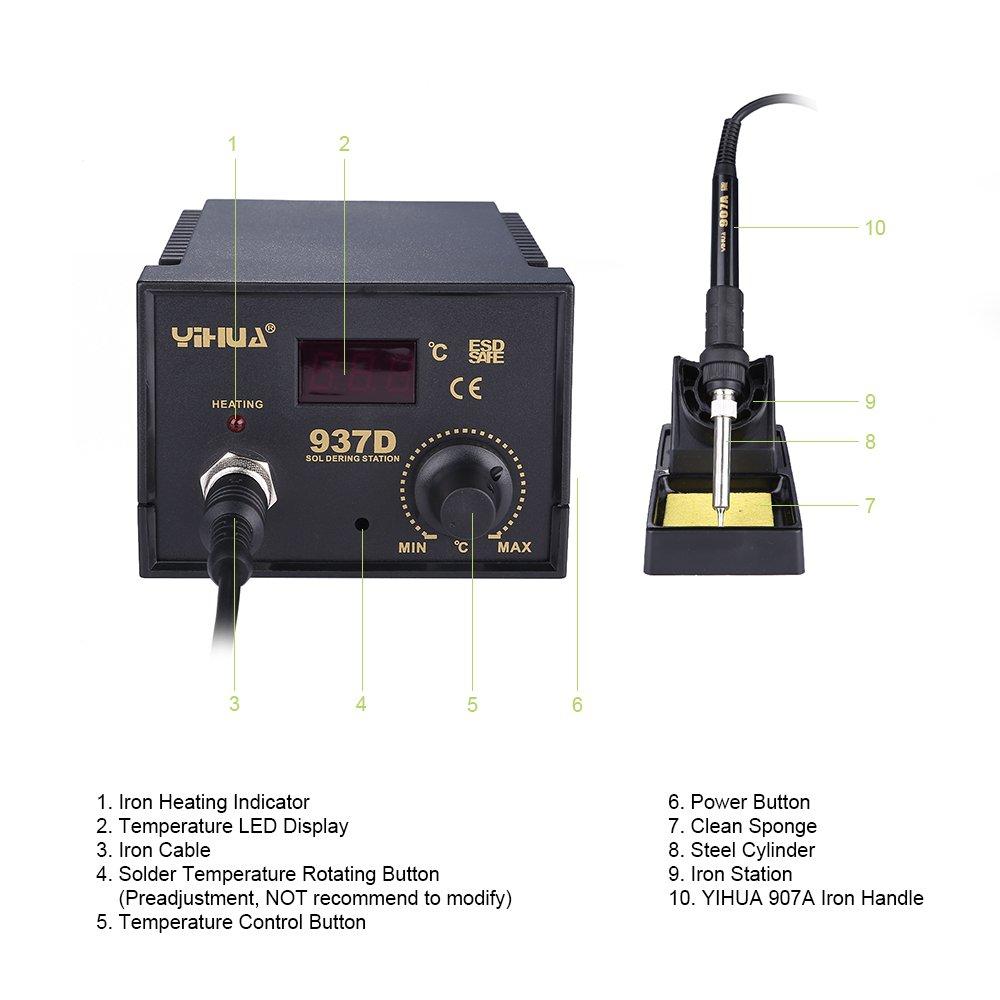 Mbuynow 937D Estación de soldadura,Temperatura Controlada Electrónicamente,Pantalla LCD, Ajustable desde 200-480C ° 45W: Amazon.es: Bricolaje y herramientas