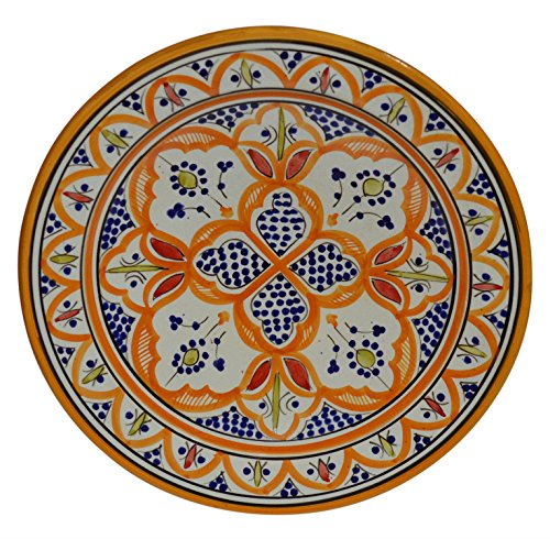 Ceramic Plates Moroccan Handmade Serving Wall Hanging Exquisite Colors Decorative 14 inches -