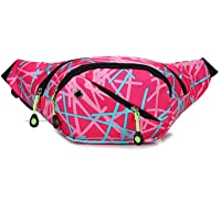 Women Waist Bag Casual Female Fanny Pack Canvas Belt Bag Girl Mobile Money Fanny Bag Belt Bags Blue 1014 (Color : Pink…