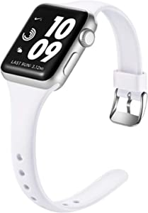Laffav Slim Band Compatible with Apple Watch 40mm 38mm for Women Men, Soft Silicone Narrow Thin Sport Replacement Strap for iWatch SE & Series 6 & Series 5 4 3 2 1 (White, 38mm/40mm S/M)