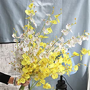 HuanhuaTC 8pcs Artificial Orchids Realistic Fake Flowers Arrangement for Home Party and Wedding Decor (White) 3