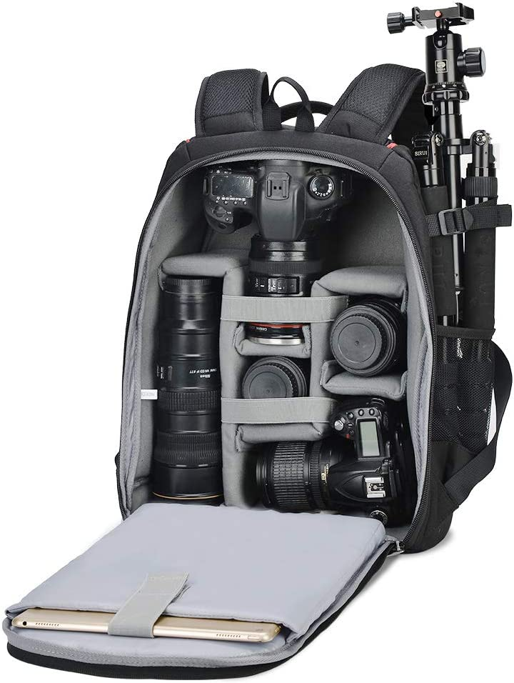 CADEN DSLR Camera Bag Backpack Large with 13 Laptop Compartment and Tripod Holder for Nikon Canon Sony Mirrorless Cameras and Lenses