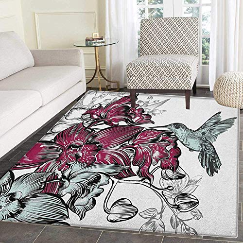 Hummingbird Rugs for Bedroom Orchid Flowers Bouquet and A Hummingbird Nature Wildlife Artistic Design Print Circle Rugs for Living Room 2'x3' Burgundy