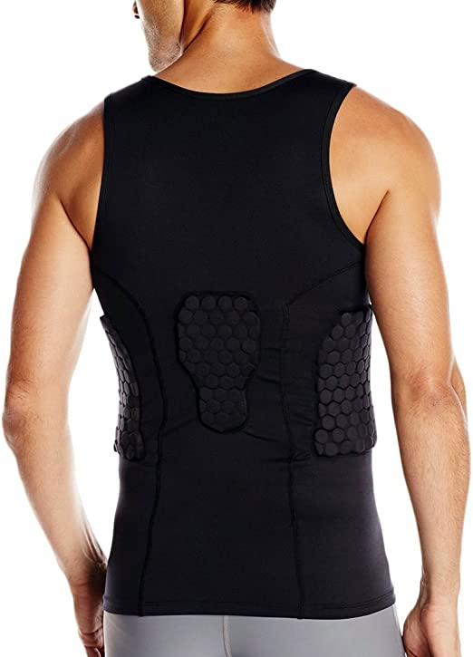 For Basketball 3-Pad McDavid Padded Tank Shirt Lacrosse and more Protects Ribs and Spine Football HEX Pads Compression Tank Top