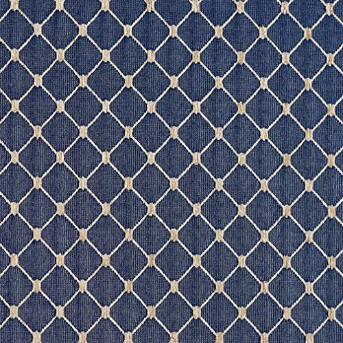 B645 Navy Blue Diamond Jacquard Woven Upholstery Fabric by The Yard