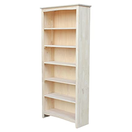 International Concepts Shaker Bookcase 72 Inch Unfinished