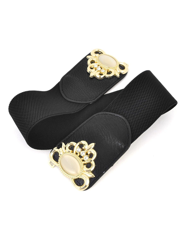 Plastic Bead Inlay Flower Frame Interlocking Buckle Elastic Waist Belt