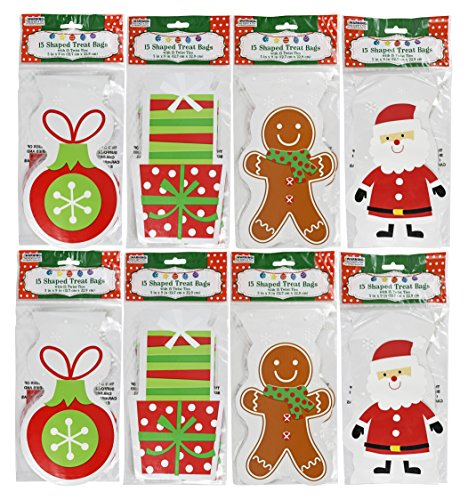 Set of 120 Christmas Cello/Cellophane/Loot Treat Bag w/Ties – 4 Holiday -