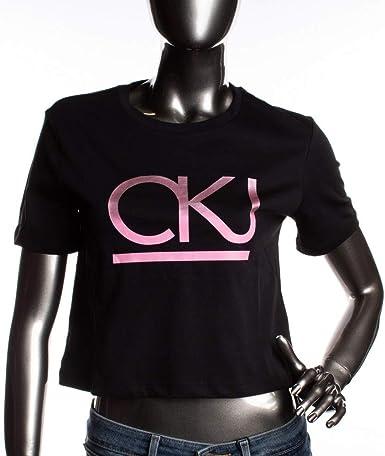 Calvin Klein Line Straight J20J210806 099 CK - Camiseta para mujer, color negro Negro M: Amazon.es: Ropa y accesorios