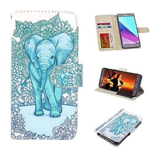 UrSpeedtekLive J7 Sky Pro Case, Galaxy Halo / J7 V / J7 Prime Wallet Case Folio Flip PU Leather Case Cover w/Card Holder Slot Pockets, Wrist Strap,Magnetic Closure for Samsung Galaxy J7 2017,Elephant