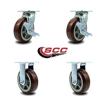 "4 Heavy Duty Caster Set 6/"" 8/"" Polyurethane on Aluminum Wheels Rigid Swivel Brake"
