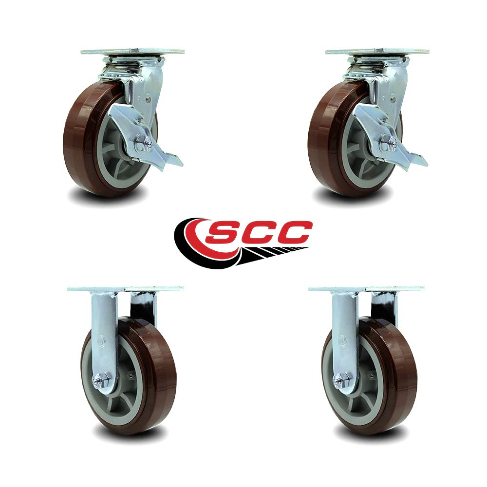 Service Caster - 6'' Heavy Duty Polyurethane Wheel Caster Set of 4 - with 2 Rigid/2 Swivel w/Top Locking Brakes - Non Marking - 750lbs/caster