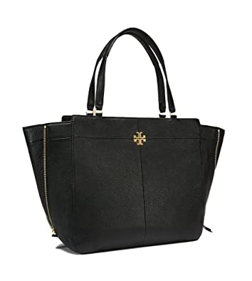 61b99605acdf Amazon.com  Tory Burch Ivy Side-Zip Leather Tote Bag (Black)  Shoes