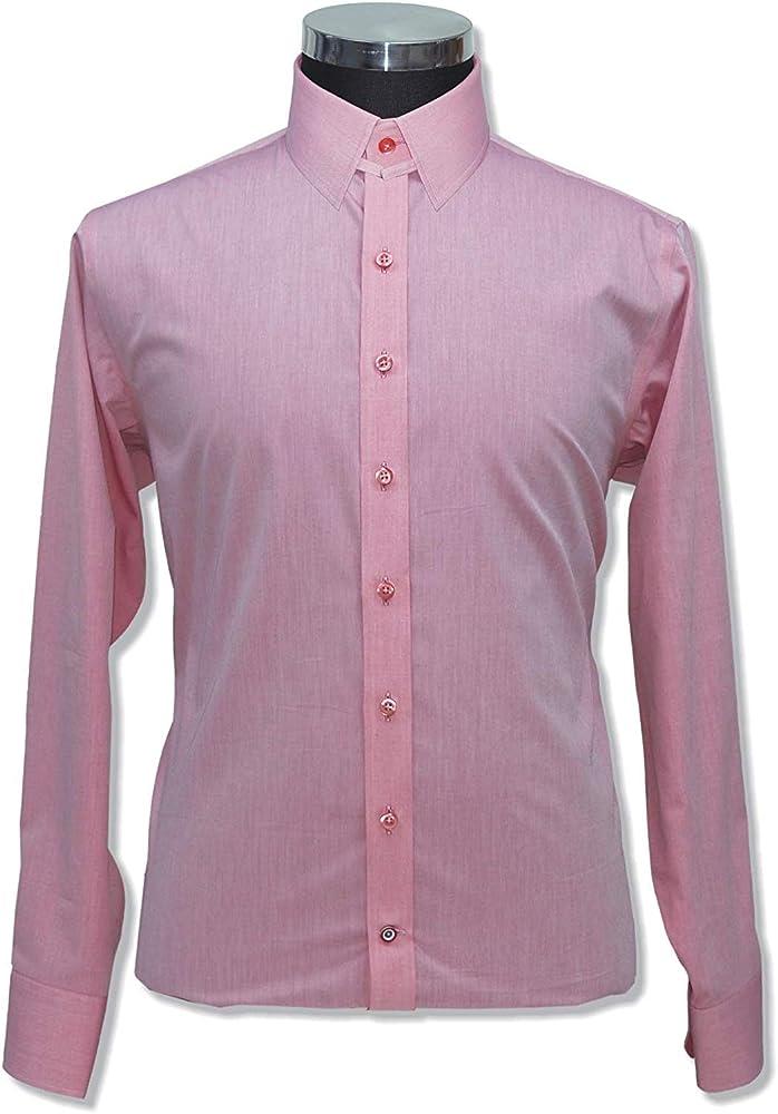 WhitePilotShirts Camisa con Cuello de pestaña para Hombre, 100% Rosa, Cuello de Encaje de Melange Manga Larga, puño Individual para Hombre 200-13 Rosa Rosa 15: Amazon.es: Ropa y accesorios
