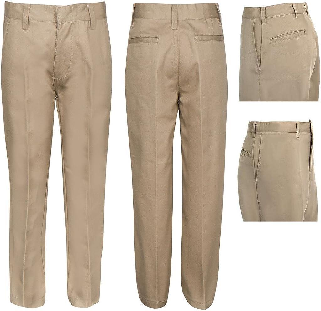 Navy Khaki Grey Black Premium Flat Front Pants for Girls with Adjustable Waist