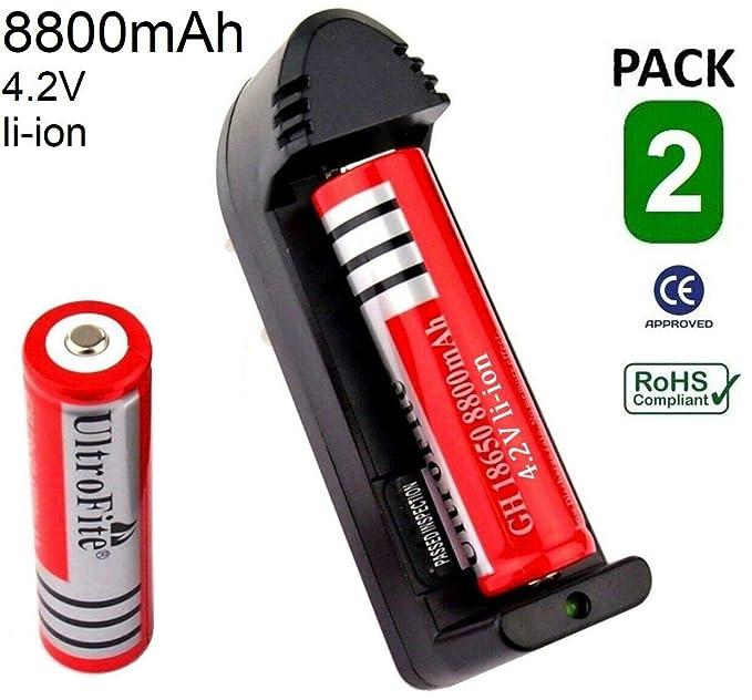 2X Pila 18650 BATERIA Recargable 8800mAh LI-Ion 4,8V + ...