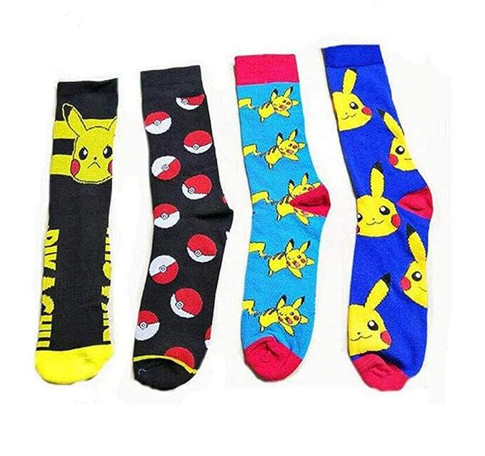 uk store entire collection many fashionable Bo Feng 4Pack Pokemon Socks for Men Women Funny Cute Compression Art  Football Socks Boy Girls, Multicoloured, Medium