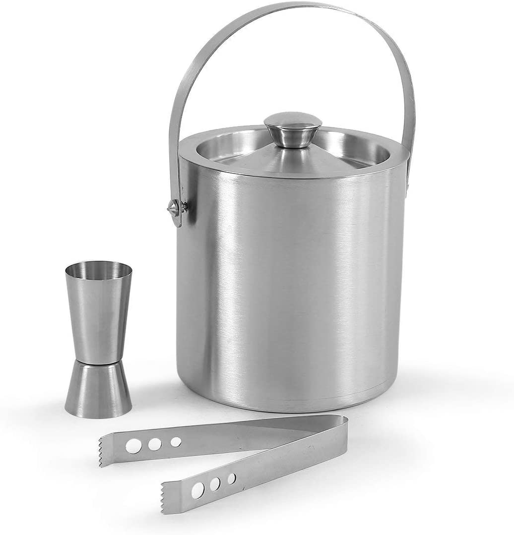 Amazon Com Stainless Steel Bar Tools With Ice Bucket Tong And Peg Measure Silver Set Of 3 Kitchen Dining