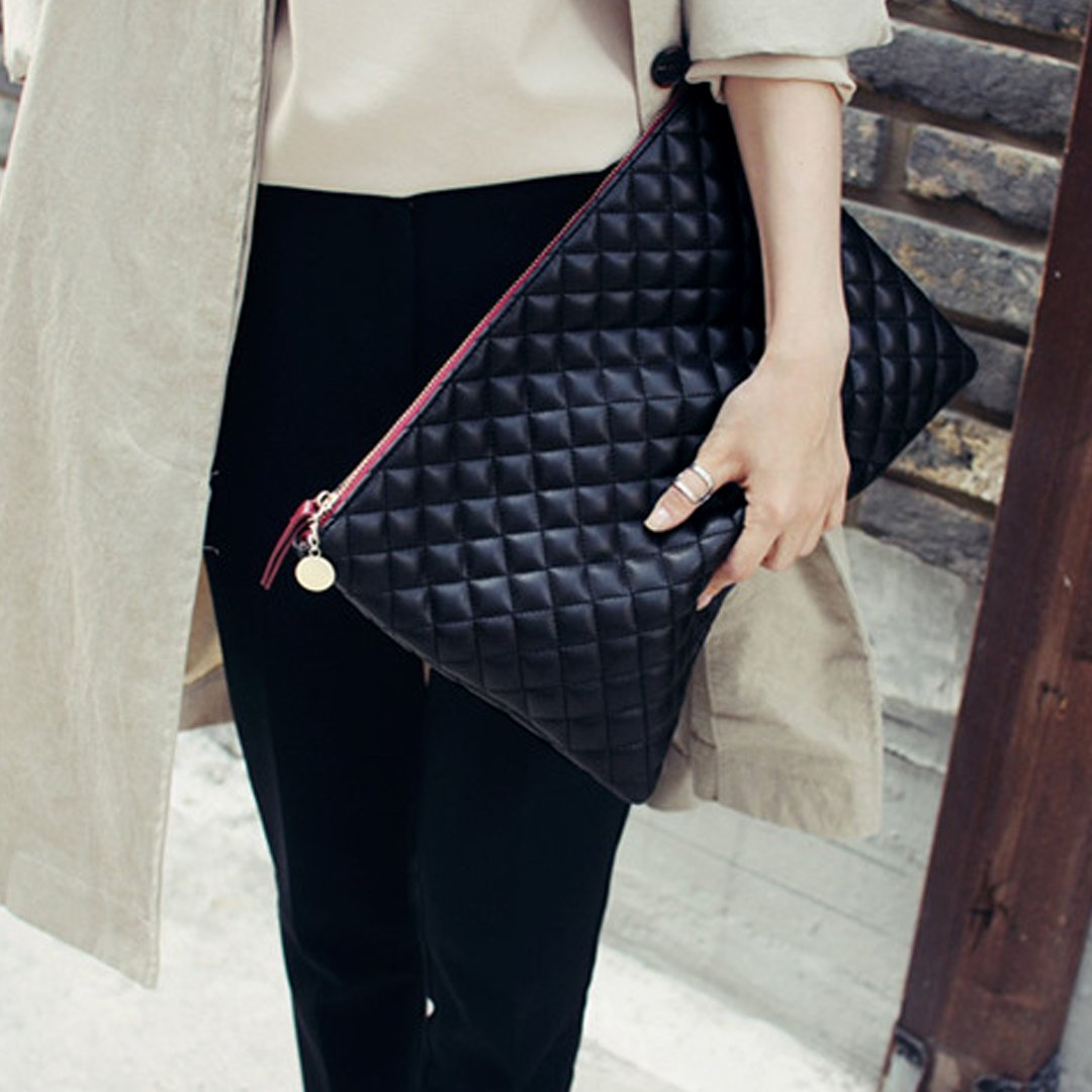 7f7feabc5de2 Felice Oversized Envelope Clutch Fashionista Quilted Diamond Pattern  Leather Handbag Purse