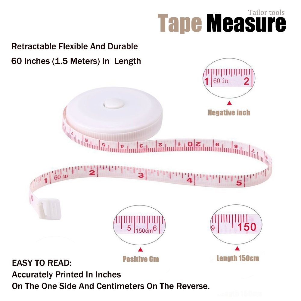 3 Pack Tape Measure 150 cm 60 Inch Push Button Tape Body Measuring Soft Retractable for Sewing Double-Sided Tailor Cloth Ruler Green Black Blue by BUSHIBU