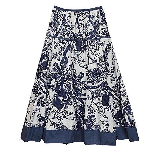 Femme 75cm Bleu Jupe lgant Longue Plisse Feoya Impression Blanc Casual Taille unique Jupe vPqxwdx1T