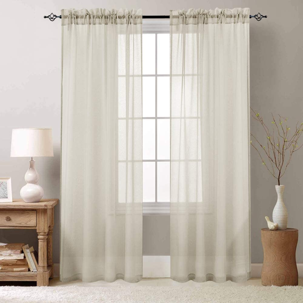Sheer Curtains 95 inch for Bedroom Rod Pocket Window Treatment Curtain for Living Room Voile Drapes 2 Panels Nature