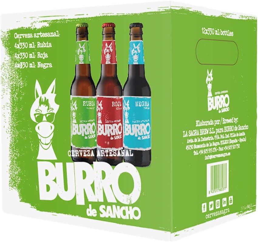 Burro de Sancho Cerveza de Malta Pack Degustación Blonde Ale, Red Ale y Porter Ale - 12 botellas x 330 ml - Total: 3960 ml