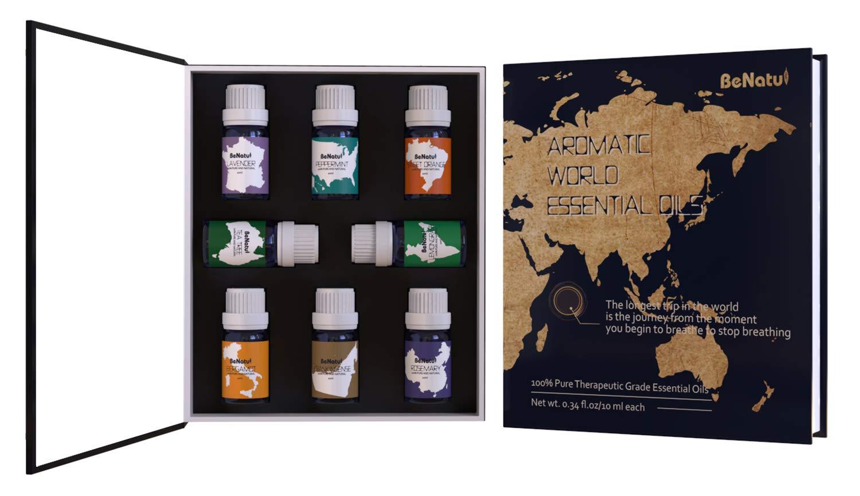 Benatu Top 8 Pure Essential Oils Set, Organic Aromatherapy Gift for Holiday, Housewarming, Stocking-Stuffer, Anniversary 10ml Each