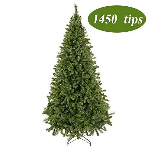 Bonnlo Upgraded Full 7.5' Feet Unlit Artificial Full 1450 Tips Branch Christmas Pine Tree with Sturdy Metal Legs