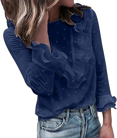 Camisas Mujer Otoño Mujeres Damas Casual Encaje Lunares O Cuello Camiseta Manga Larga Tops Blusa Puños con Botones Manga de Hoja de Loto Mujer De Encaje Camisa de Mujer Color Liso LiNaoNa:
