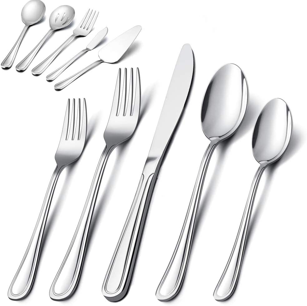 E-far Stainless Steel Modern Flatware Cutlery Set Service for 8 Tableware Includes Dinner Forks//Knives//Spoons Dishwasher Safe Mirror Polished 45-Piece Silverware Set with Serving Utensil
