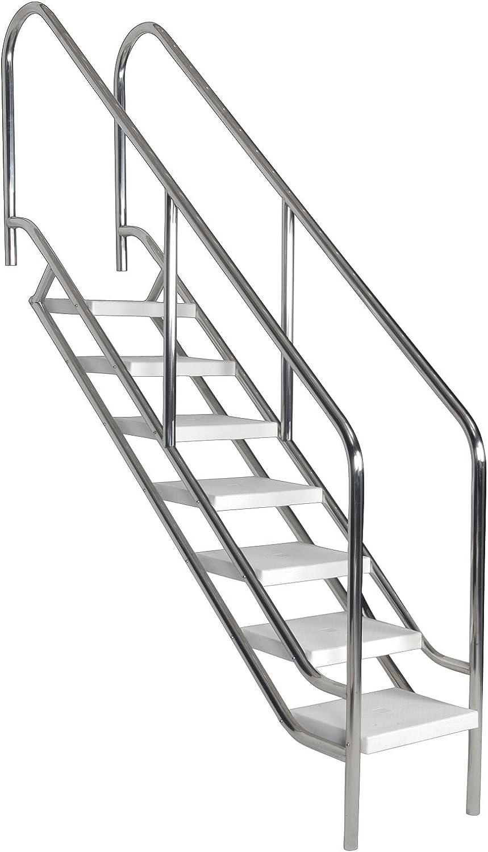 Piscina Escaleras Deluxe de acero inoxidable 4 – 8 niveles: Amazon.es: Jardín