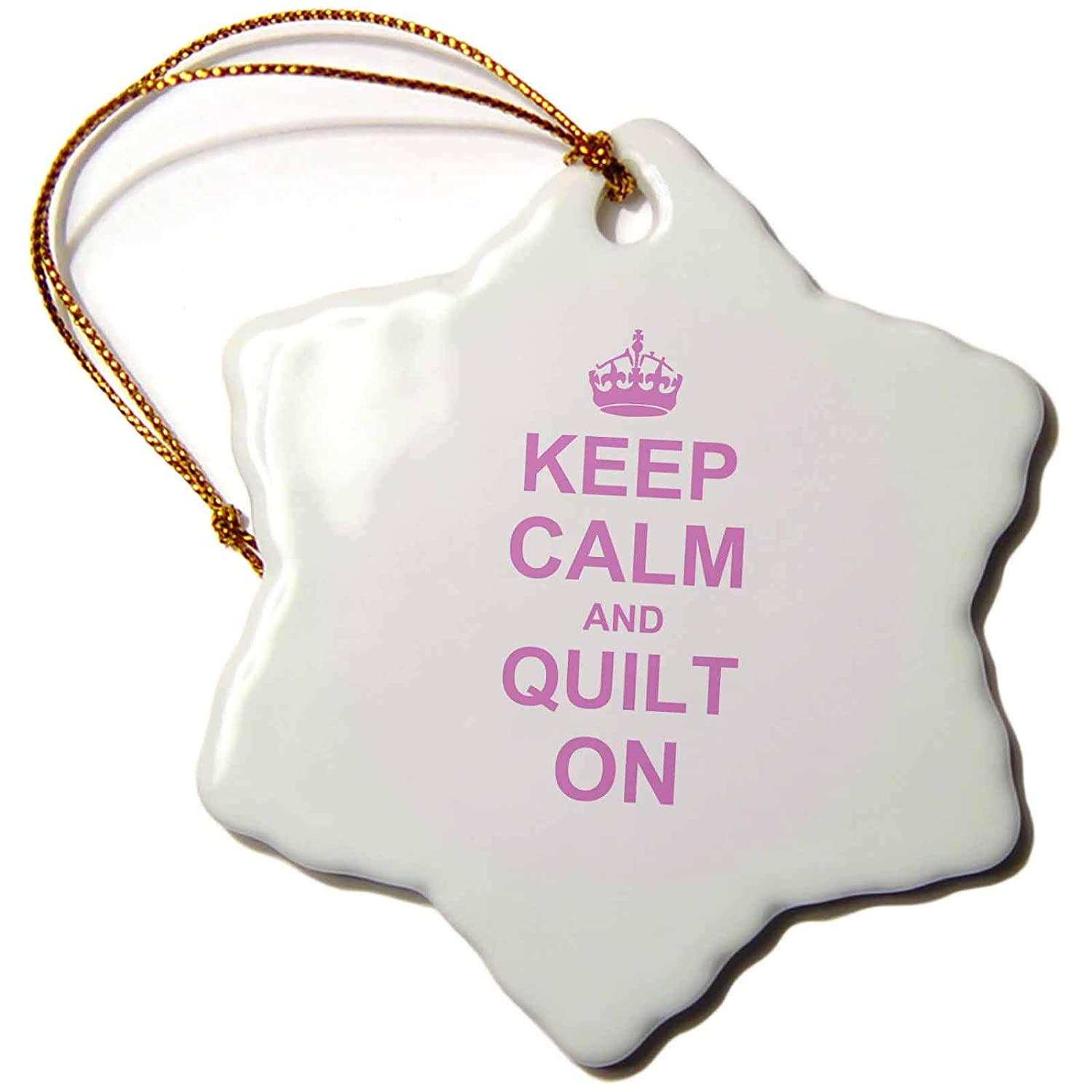carry on quilting 3dRose InspirationzStore Typography Keep Calm and Quilt on 3 inch Snowflake Porcelain Ornament orn/_157760/_1 pink fun funny humor humorous Quilter gifts