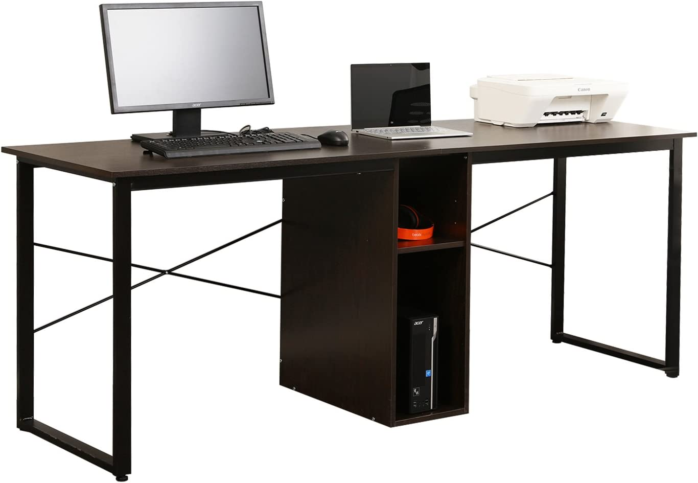 Soges Large Dual Desk 2-Person Workstation Desk 78 inches Double Computer Desk with Storage Box Home Office Desk Writing Desk Teens Desk Black LD-H01BK