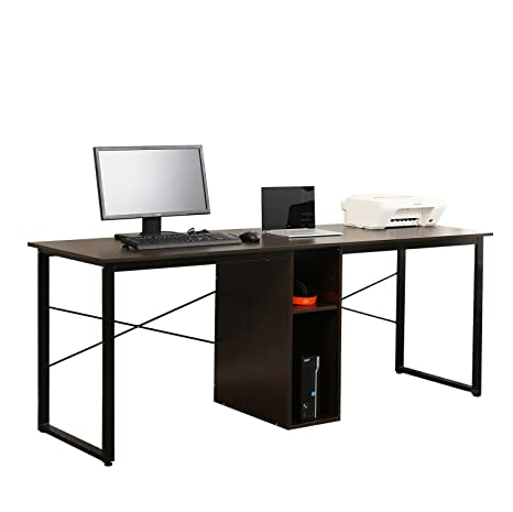 Soges 2 Person Home Office Desk 78 Inches Large Double Workstation Desk Writing Desk With Storage Black HZ011 200 BK