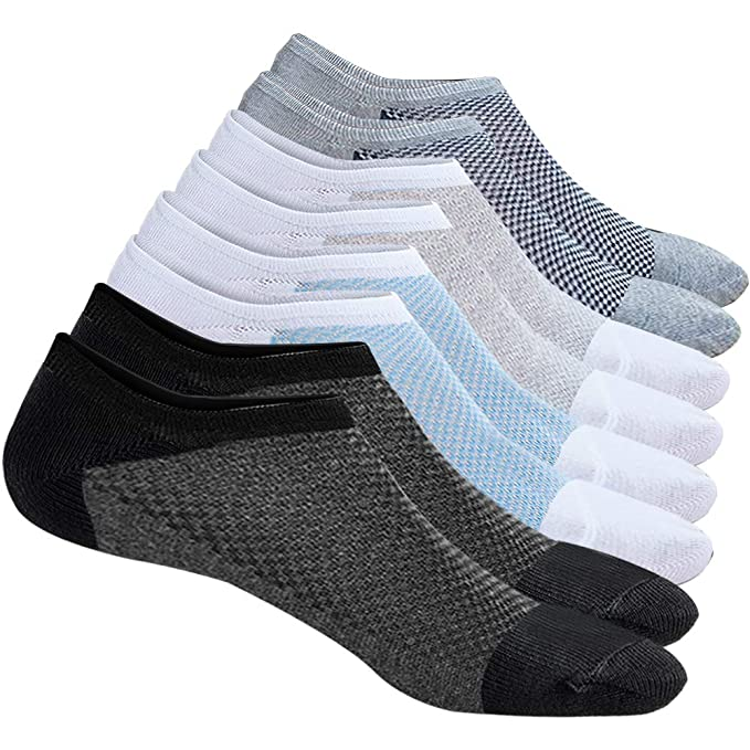 8 Pairs No Show Socks Casual Wumal Low Cut Non Slip Cotton Ankle Socks, Invisible Liner for Men & Women