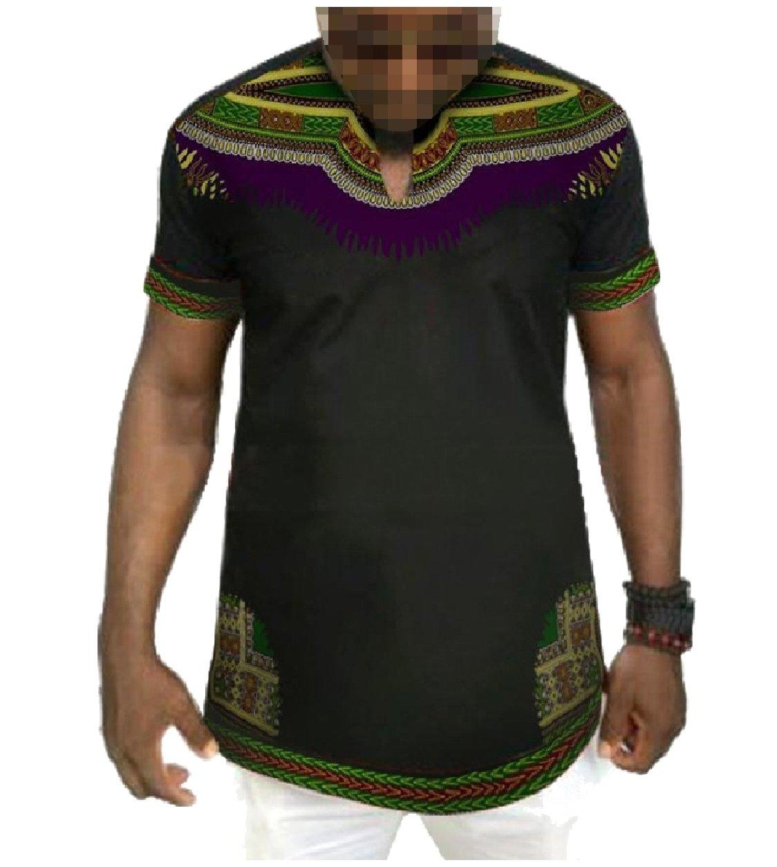 Winwinus Men's Crew-Neck African Printed Dashiki Fine Cotton Tees Top 8 S