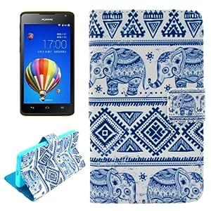 Elephants Pattern Case Cover Funda con tapa Slots & Wallet Card Holder & para Huawei Ascend Y530, diseño y Tamaño: 13,5 x 8,1 x 1,9 cm