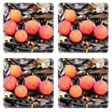 MSD Square Coasters Arbutus fruit Arbutus unedo Strawberry Tree 31 Oct 2010 Crystal Palace Natural Rubber Material Image 5132398163