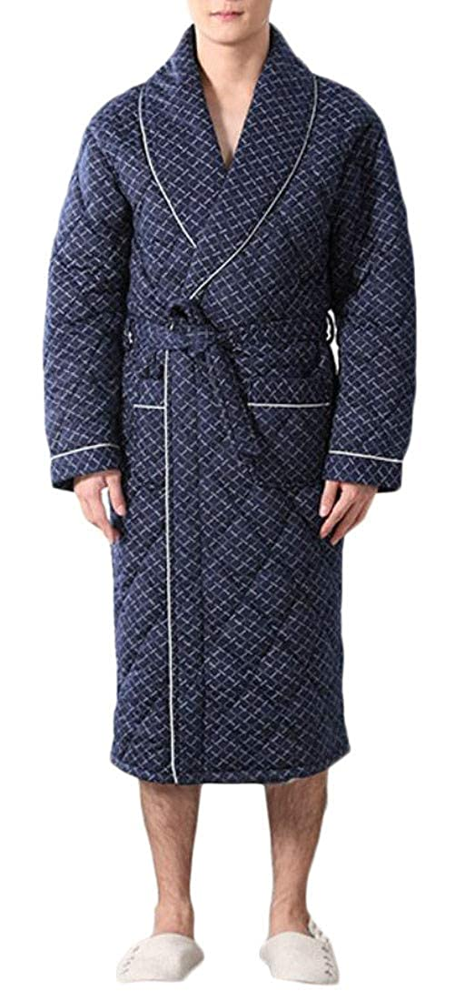 Cromoncent Mens Winter Printed Thicken Quilted Homewear Lounge Bathrobe Robe