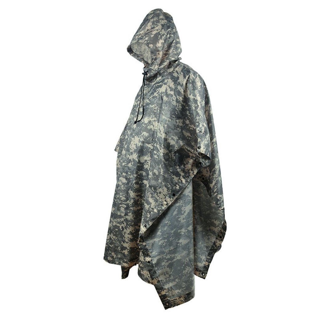 Portable Raincoat Suit Outdoor Camouflage Raincoat Jungle Maple Leaf Concealed Multi-Purpose Poncho Mat Multi-Purpose Environmental Poncho for Outdoor Walking Cycling (Color : A) by LYP-Rainwear
