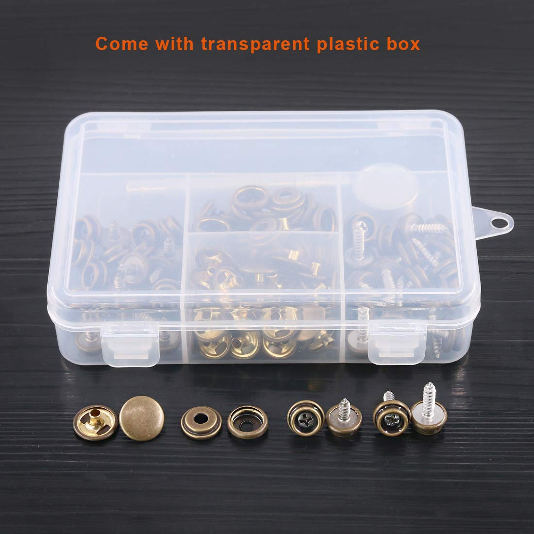 Rustark 120-Pcs Bronze Fastener Screw Snaps Boat Canvas Cover Snap Button Cap Marine Grade 3//8 Socket Stainless Steel Screw with Snap Setting Tool Kit for Furniture Canvas Fabric Boats