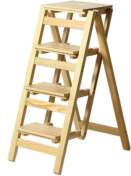 Estante Taburetes de escalera Escalera de escalera plegable 4 peldaños de madera Ligero y plegable for niños adultos for biblioteca Loft Cocina Decoración del hogar - 150 kg de capacidad (natural): Amazon.es: Hogar
