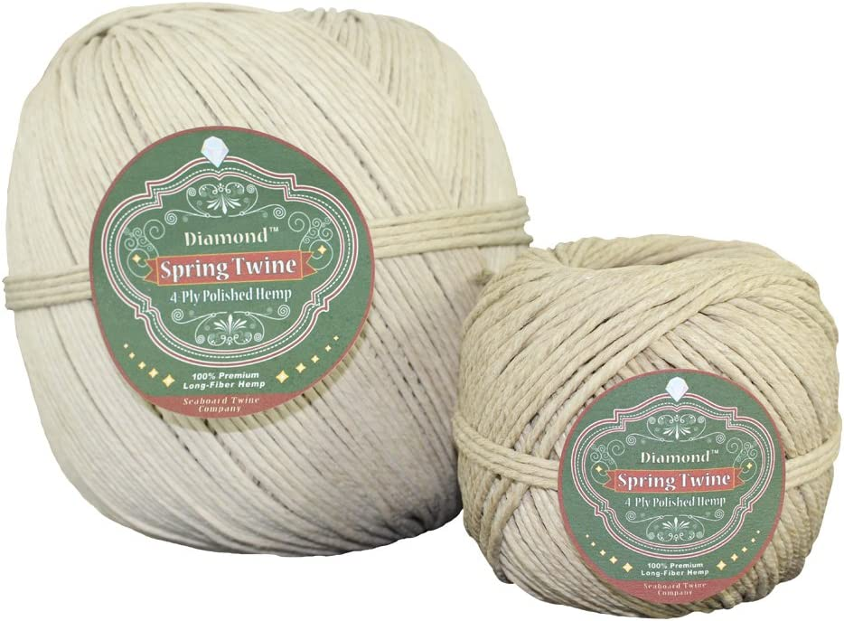 SGT KNOTS All Purpose Spring Twine - Long Fiber Polished Hemp String for Gardening, Crafting, DIY Projects & More (4ply - 1lb, 270ft)